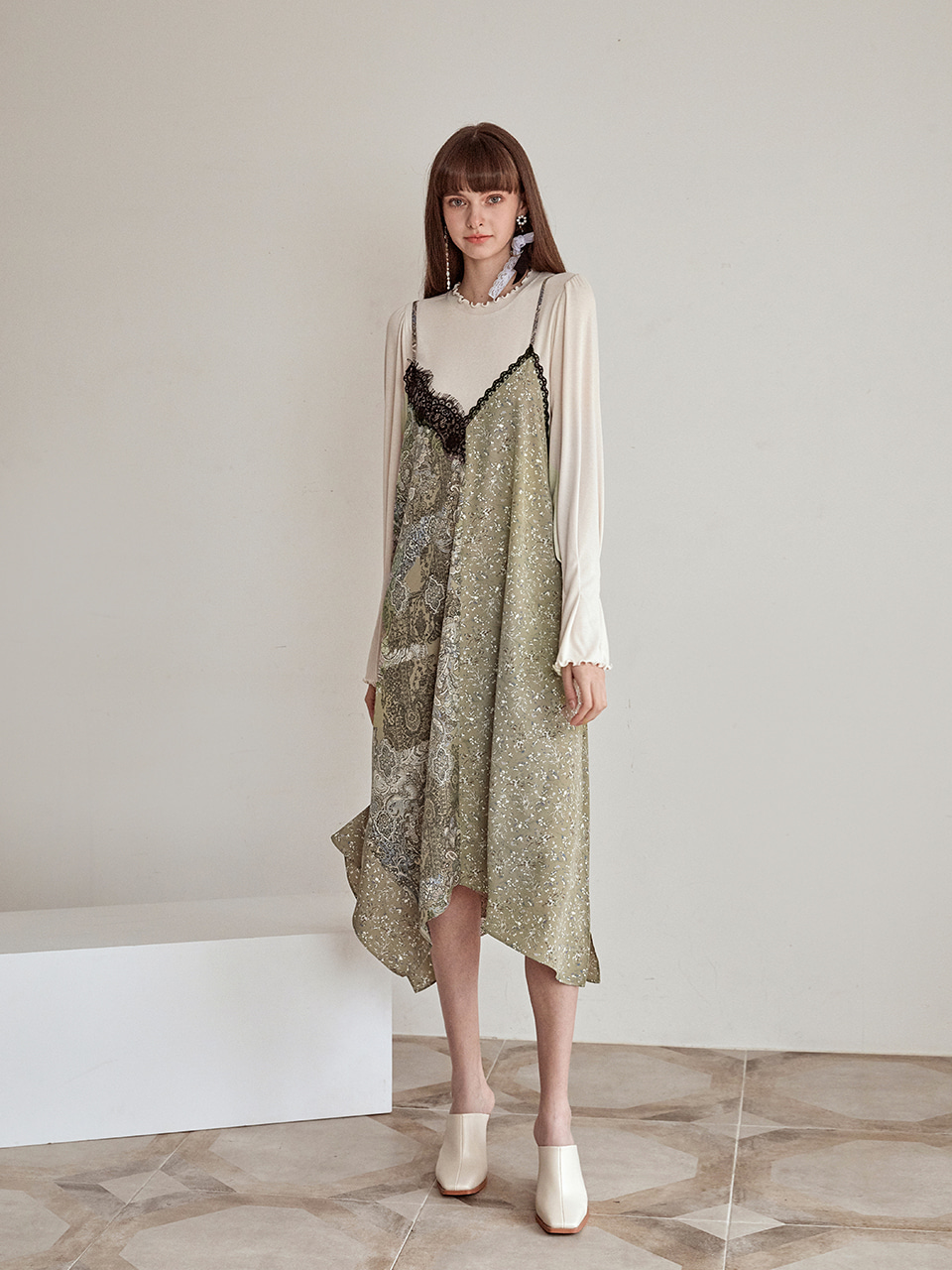 Slip Half Pattern Dress, Khaki