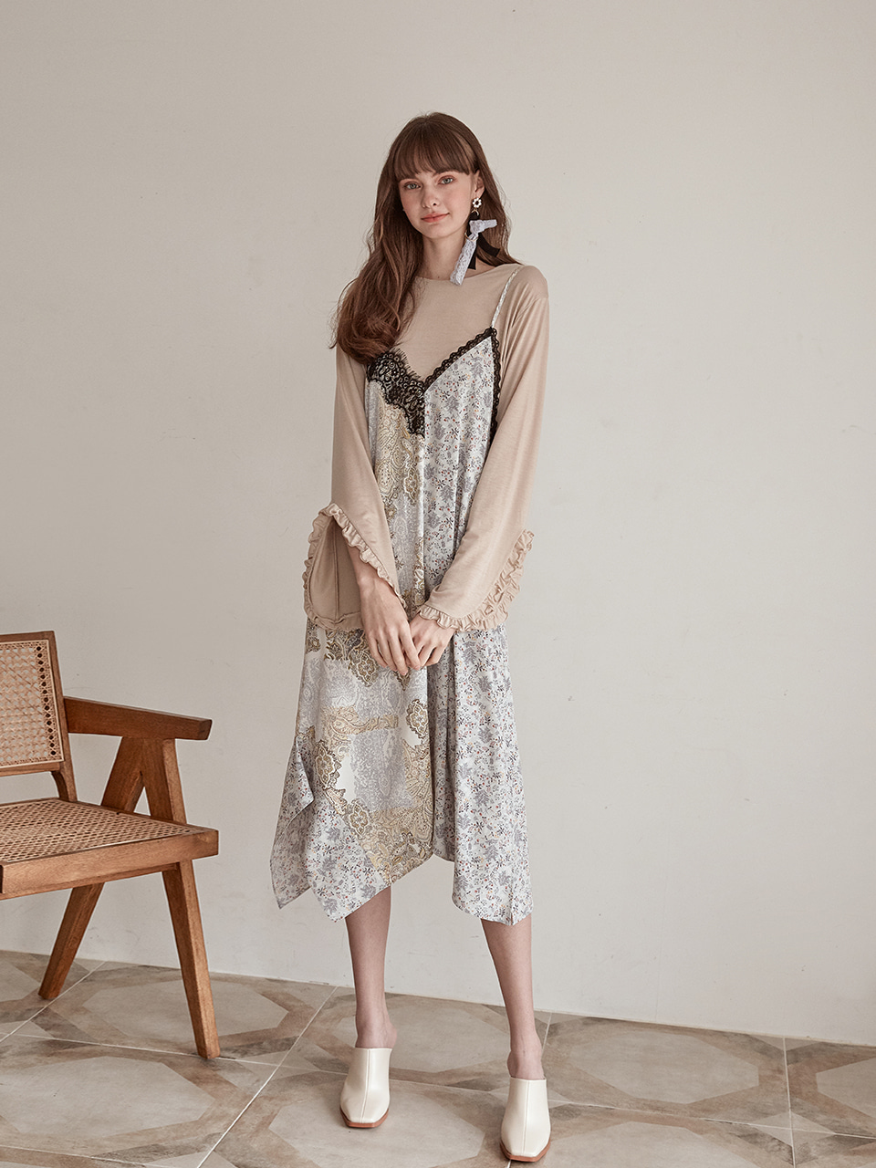 Slip Half Pattern Dress, Ivory