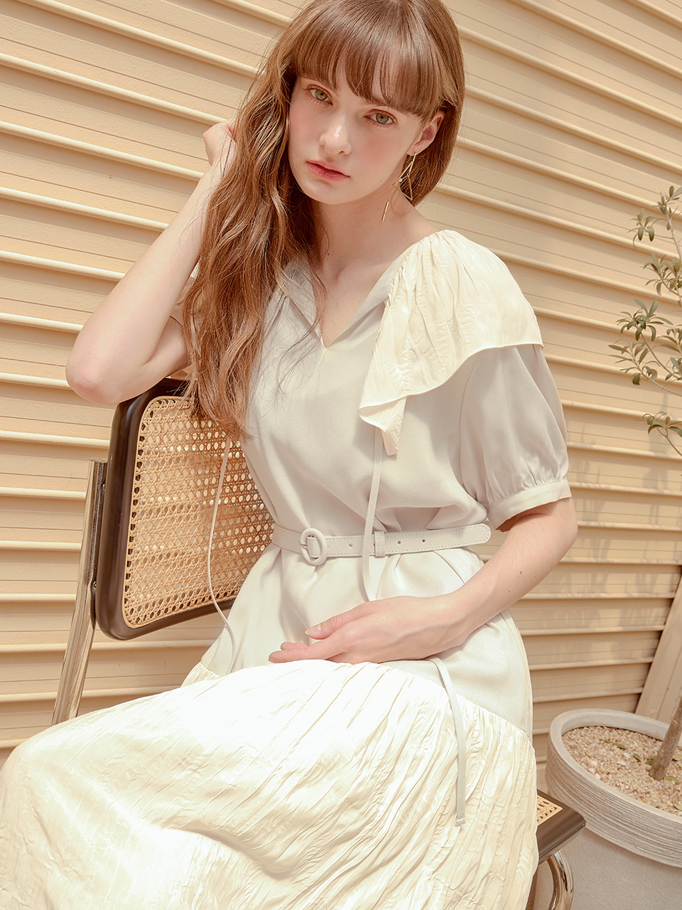 Texture Blend Belted Dress, Ivory