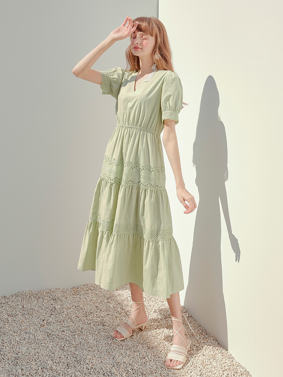 Cotton Punching Lace Dress, Light Green