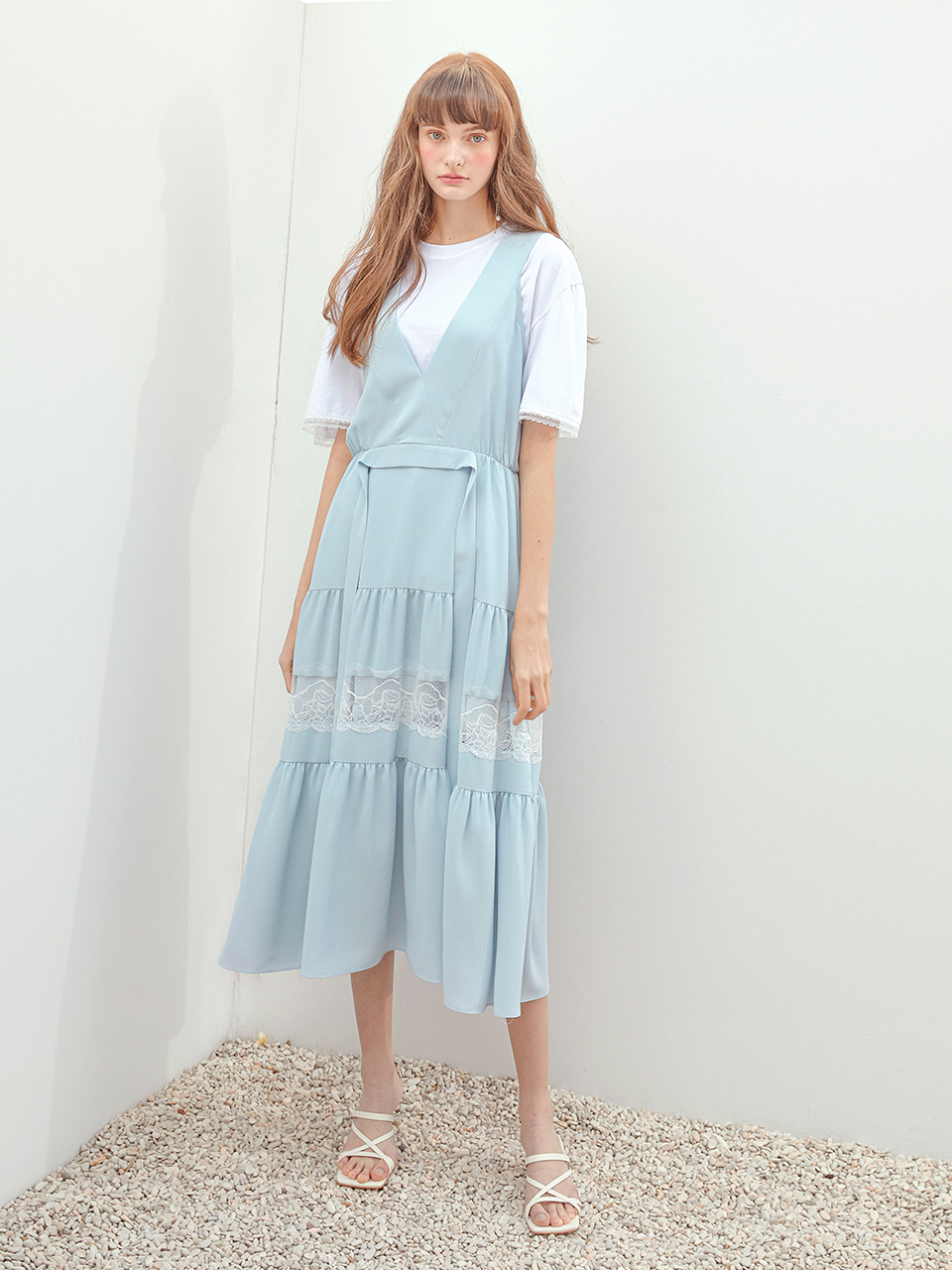 Pure Shirring Sleeveless Dress, Light Blue