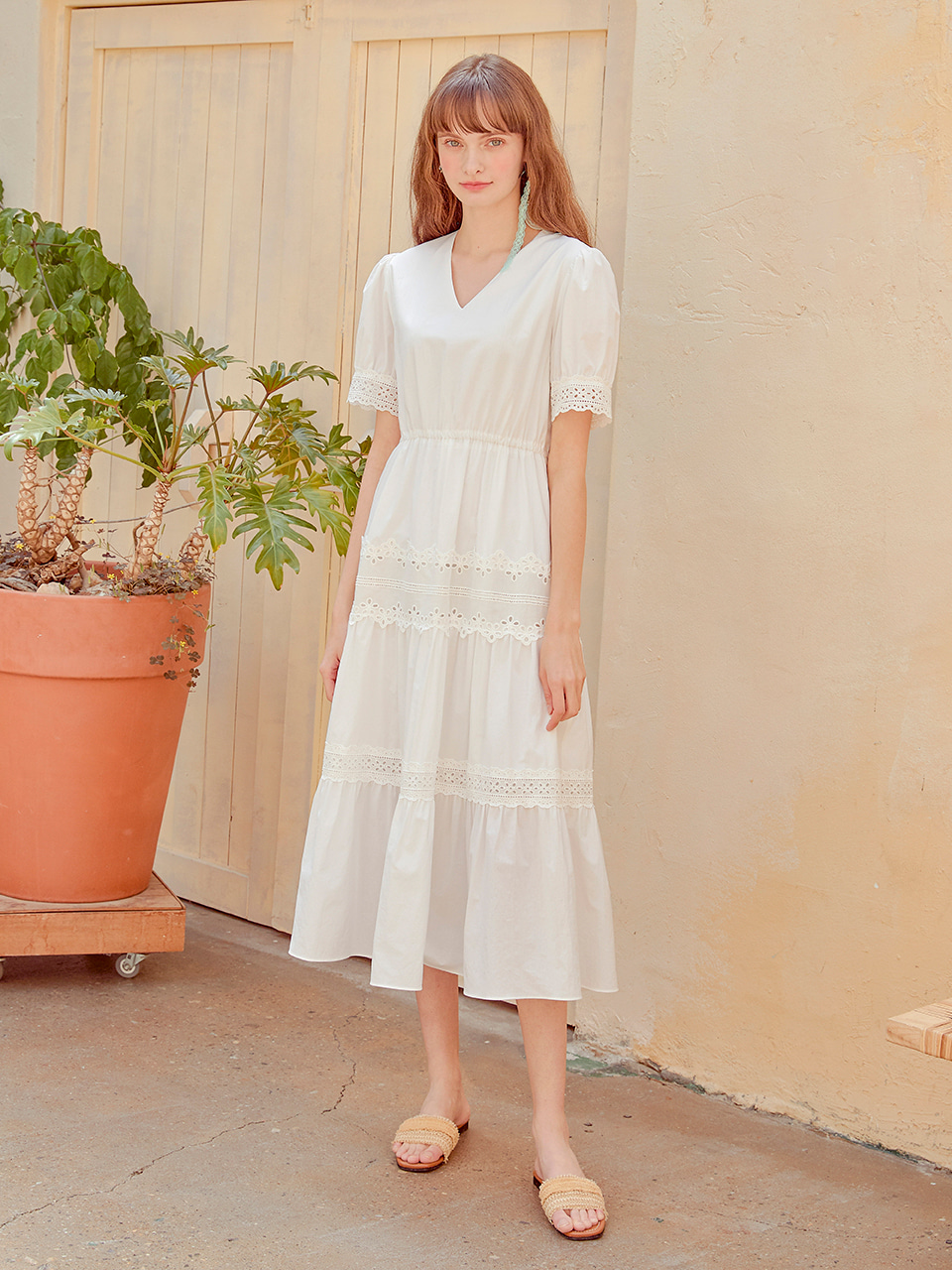 Cotton Punching Lace Dress, White