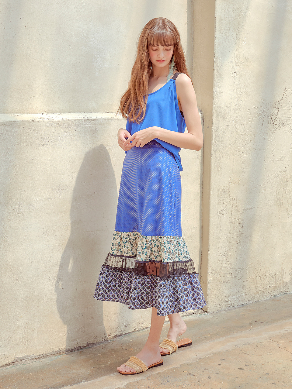 Mix Pattern Skirt, Blue