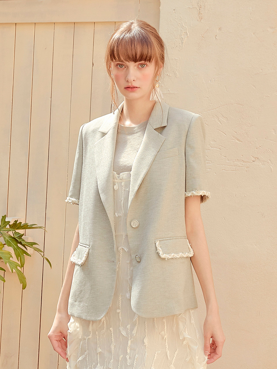 Weaving Pointed Jacket, Khaki
