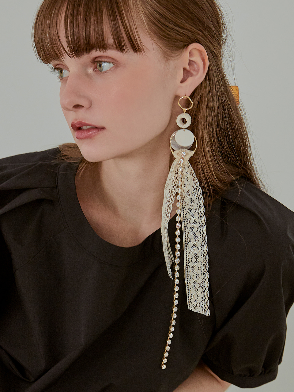Long Lace Drop Earring (Single), Cream