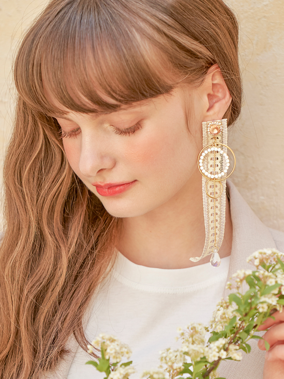 Shine Hoop Lace Earring (Single), Yellow