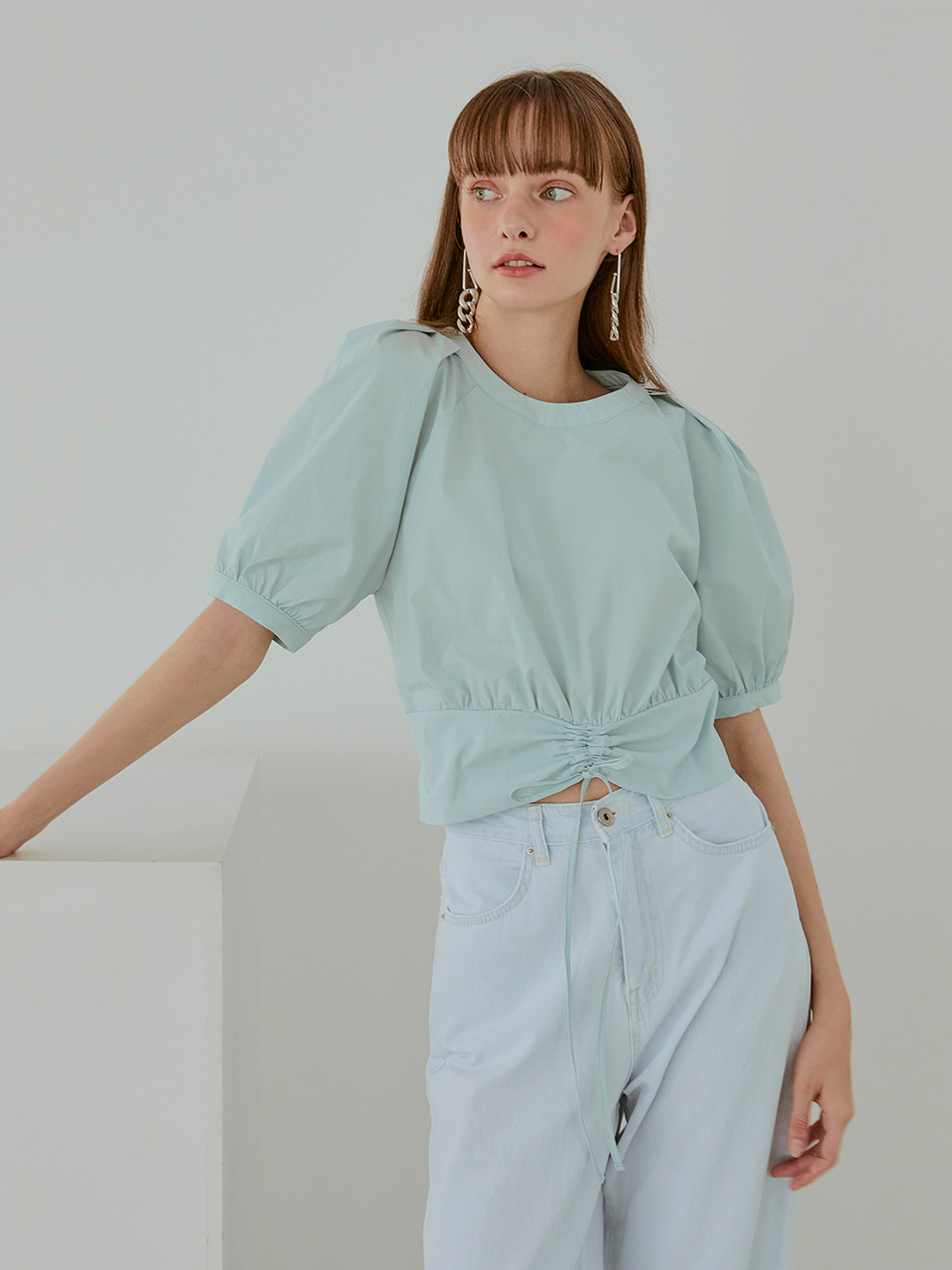 String Smock Blouse, Mint