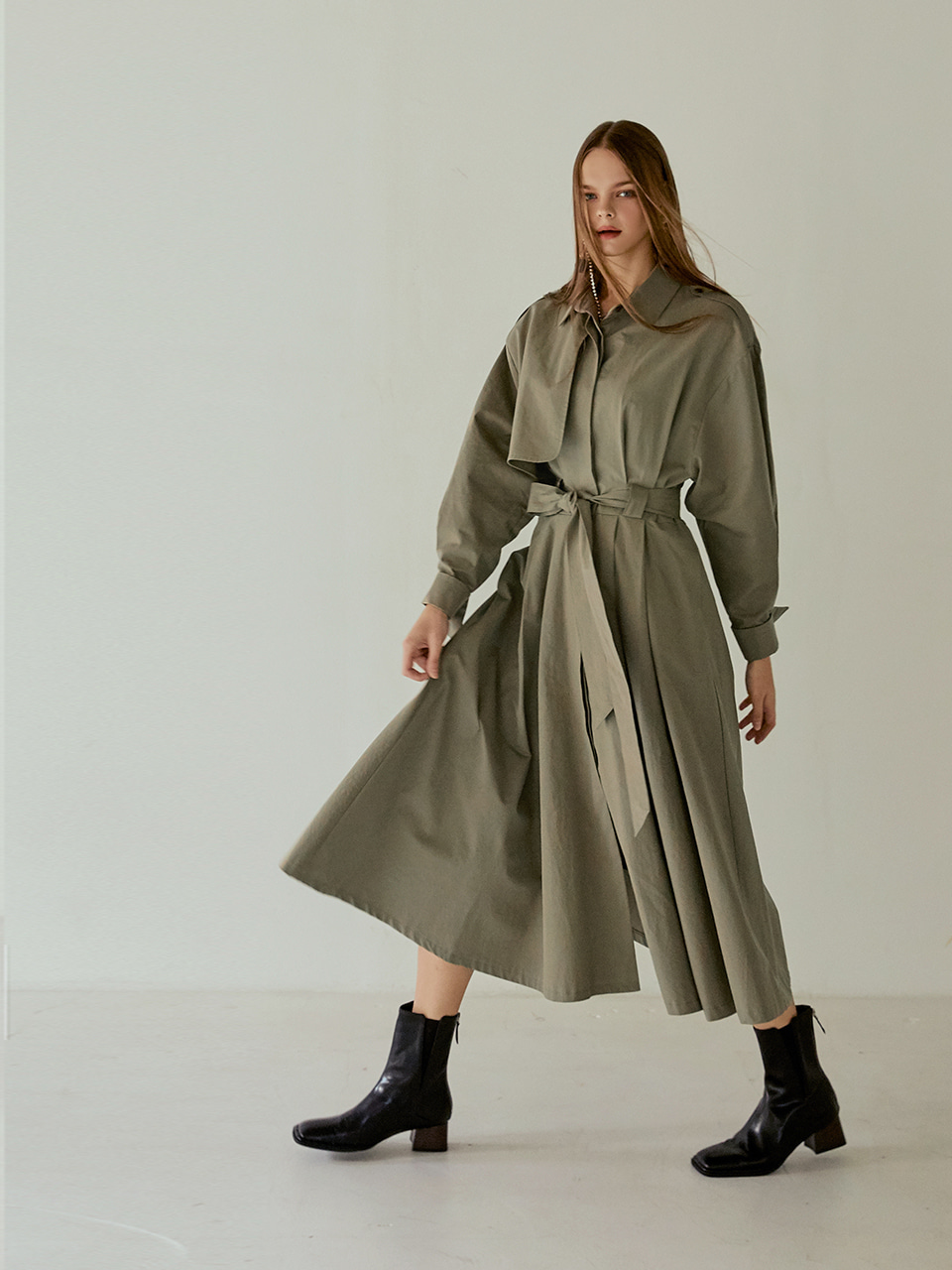Trench Flare Long Dress, Khaki