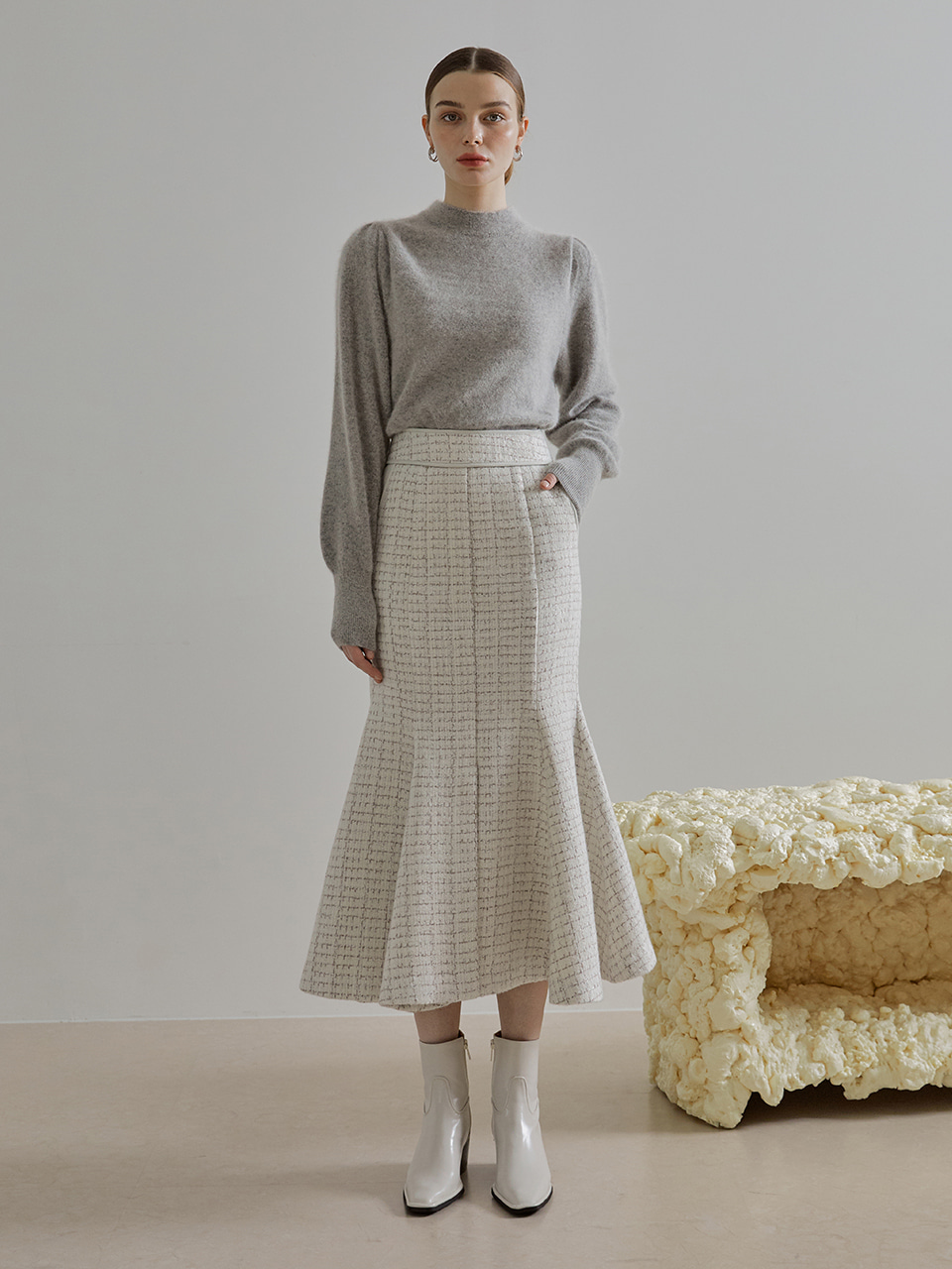 Tweed Mermaid Skirt, Ivory