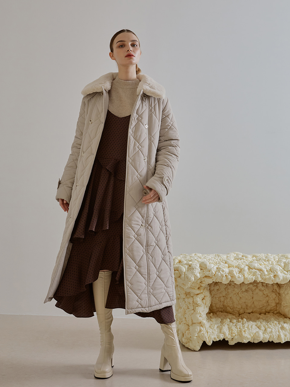 Detachable Fur Collar Padding Coat, Beige