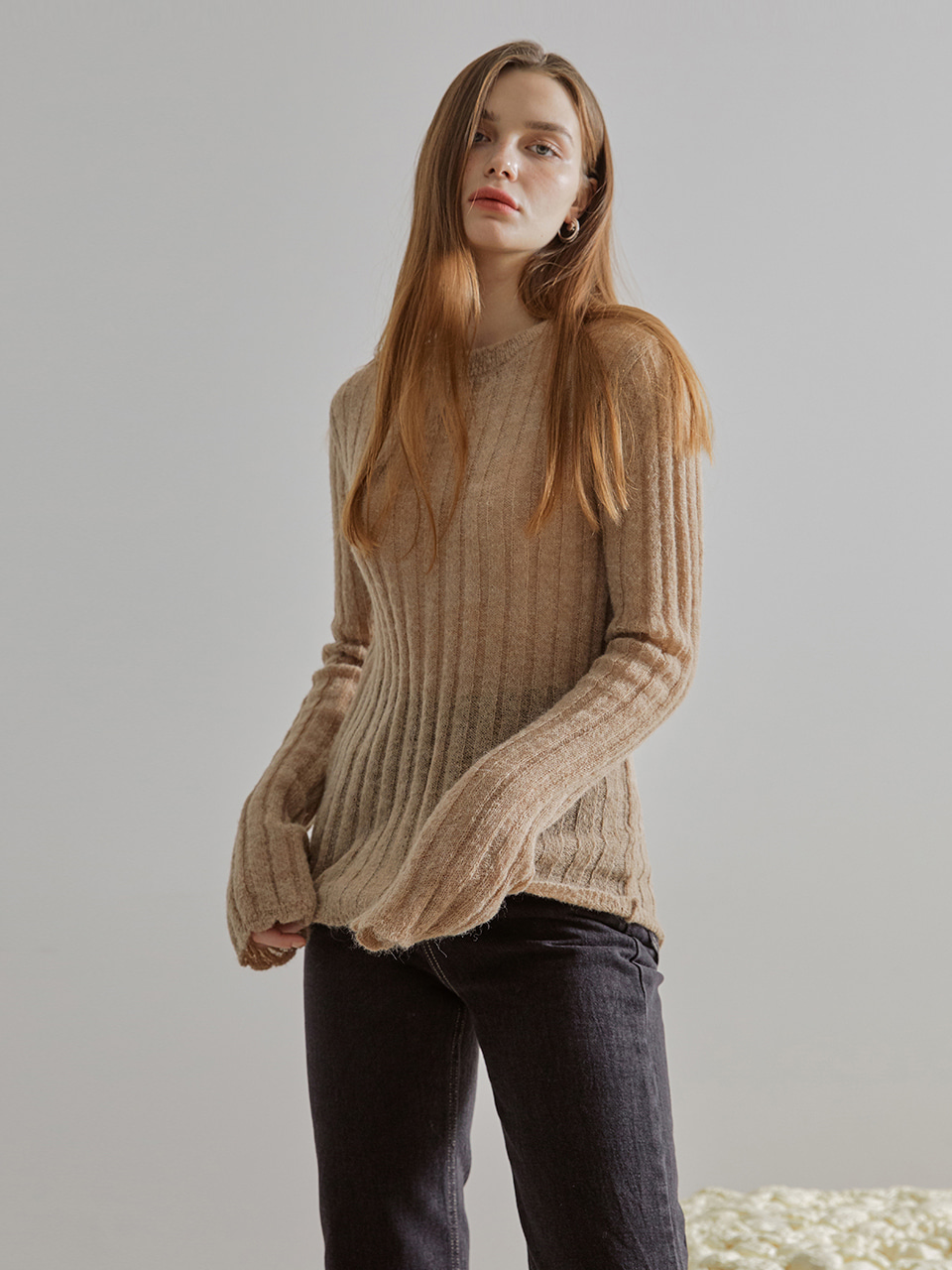 Scallop See-Through Knit Top, Beige