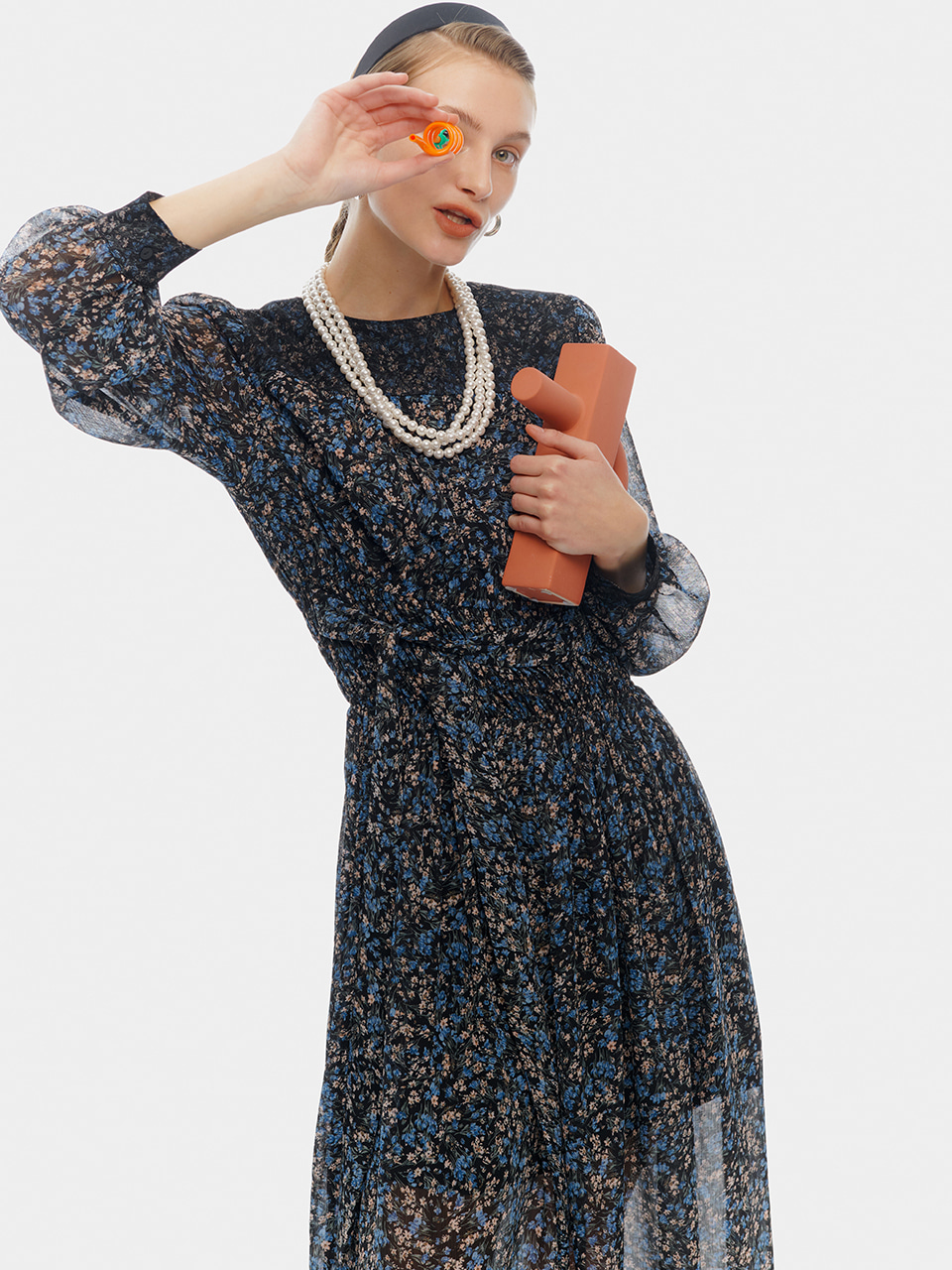 Smock Shirring Lace Dress, Blue