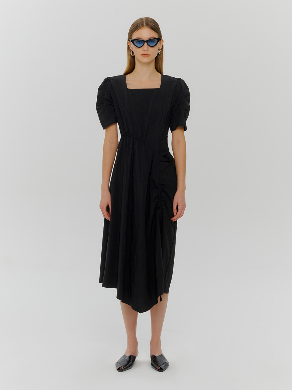 Square Neck String Dress, Black