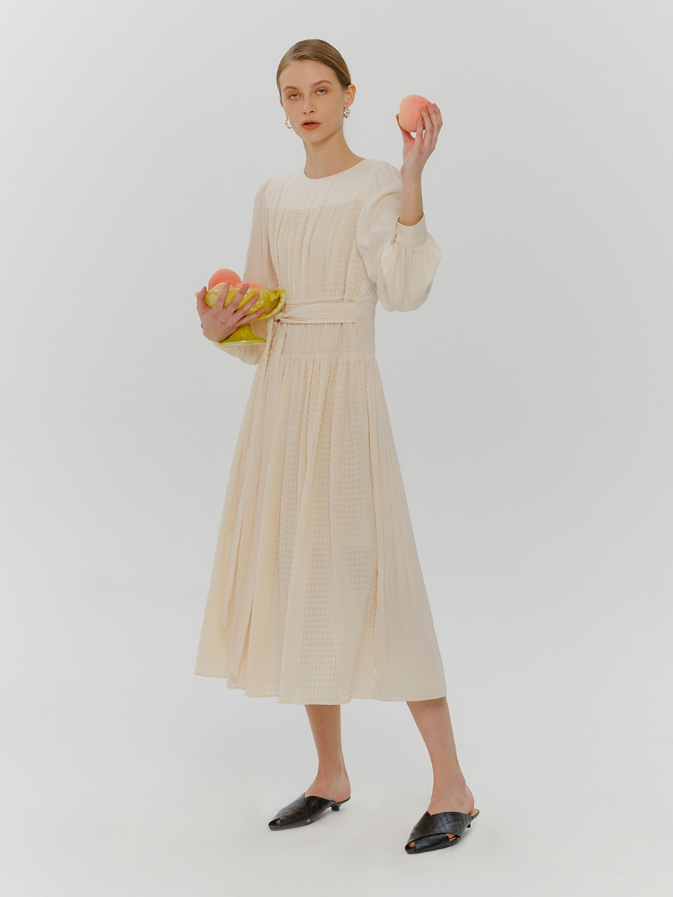 2-Way Smock Shirring Dress, Light Beige