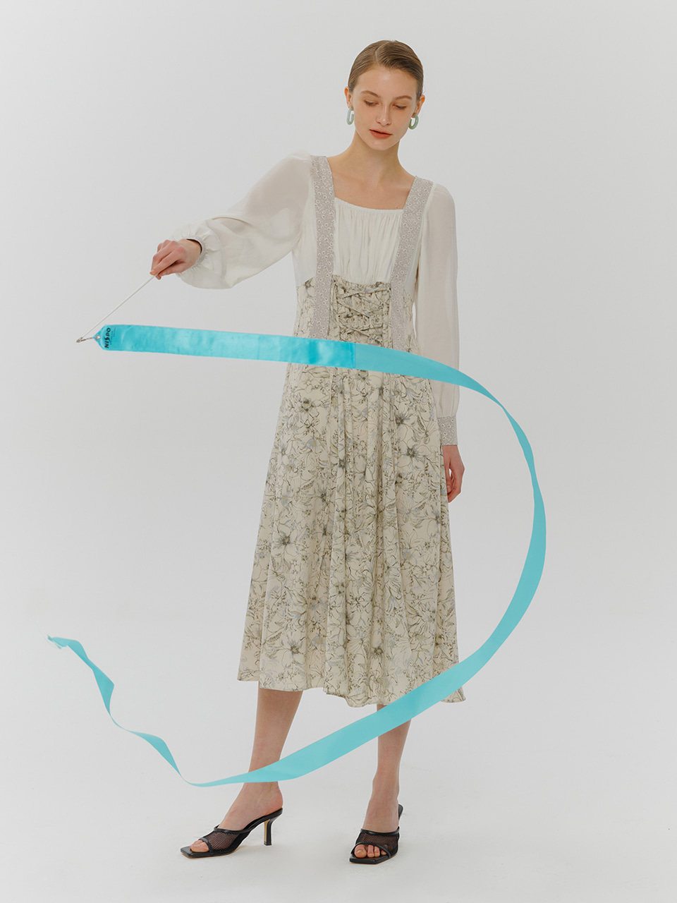 Layered Mix Pattern Dress, Ivory