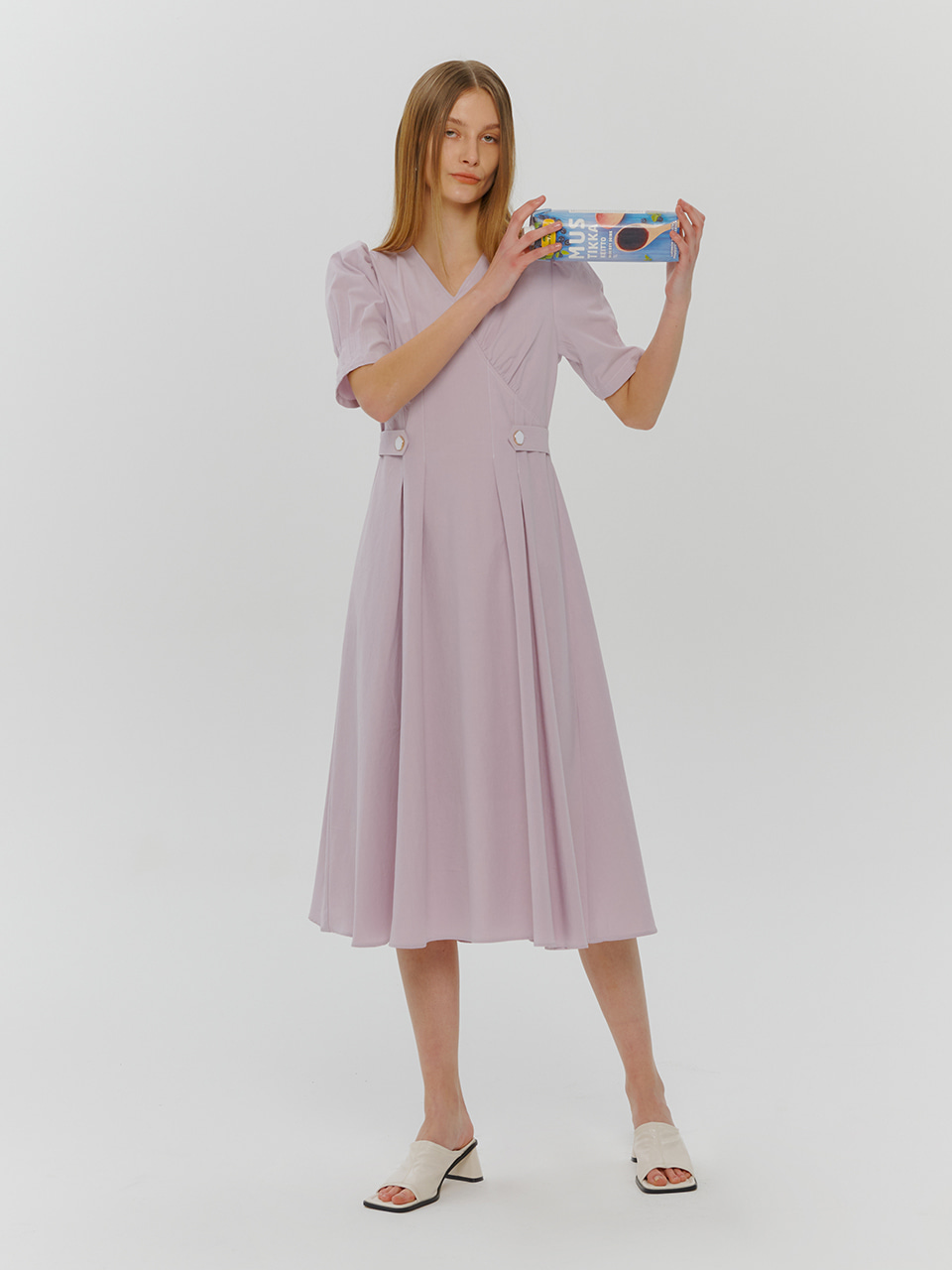 Stitch Pintuck Button Dress, Lilac