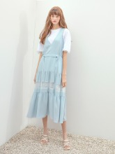 [이채영 착용] Pure Shirring Sleeveless Dress, Light Blue