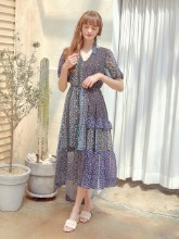 Chiffon Blend Long Dress, Blue