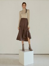 Layer Shirring Flare Skirt, Brown