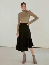 Layer Shirring Flare Skirt, Black
