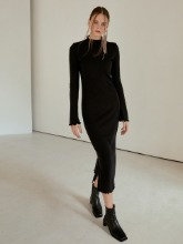 Layered Slim Long Dress, Black
