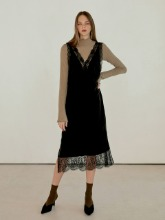 Lace Mix sleeveless Dress, Black