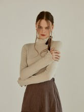 Bell Sleeve Turtleneck, Light Beige